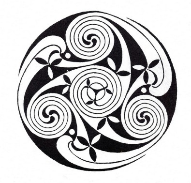 celtic triple knot with swirls