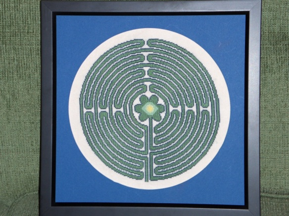 A cross-stitched labyrinth made by Kevin Driedger for Christmas, 2007.